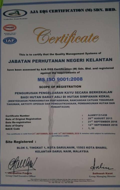 Jabatan Hutan Kelantan dianugerah ISO
