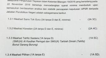 Syarat-syarat terbaru (22/11/2016) untuk permohonan ke tingkatan satu sekolah-sekolah Yayasan Islam Kelantan