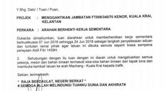 Notis Pemberhentian Sementara Projek Jambatan Kenor – Kuala Krai