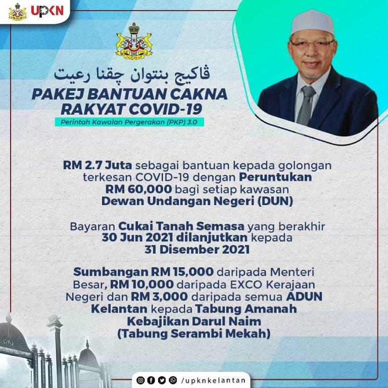 Pakej Bantuan Cakna Rakyat COVID-19 PKP 3.0 Negeri Kelantan